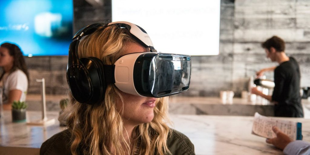 Women in virtual reality space