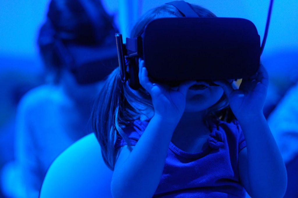 A child using virtual reality for education