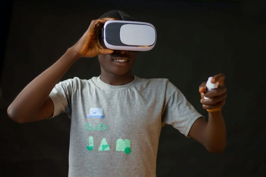 Person using virtual reality for distance learning