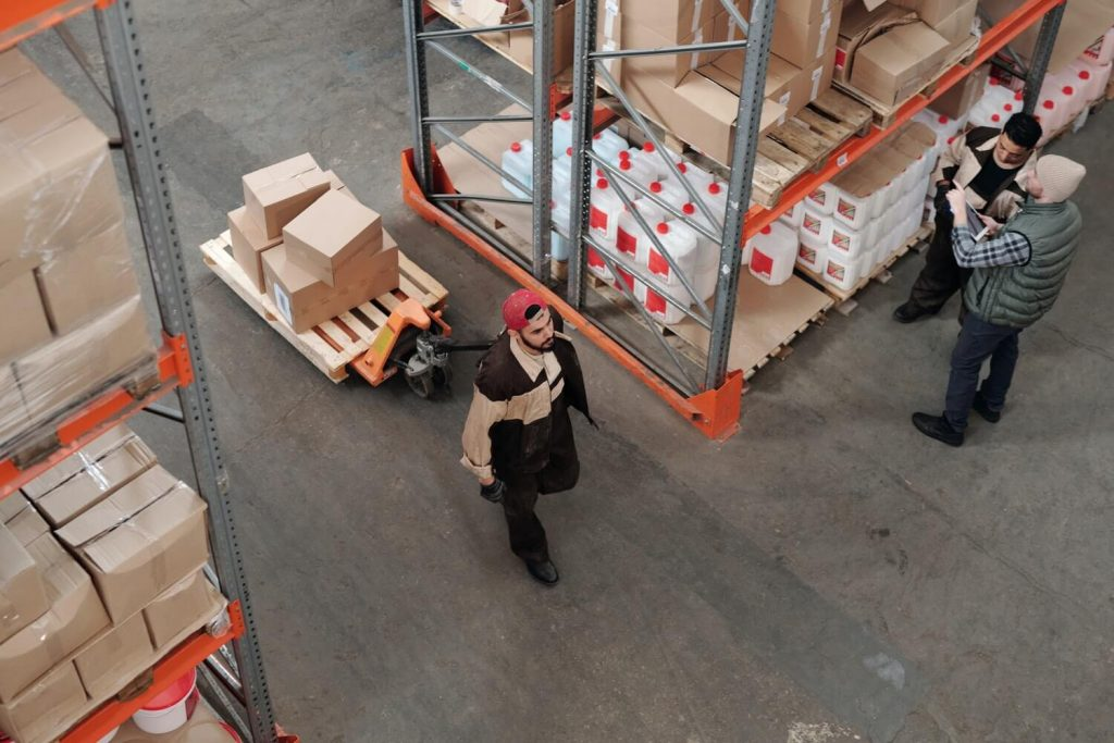Man in a UPS warehouse