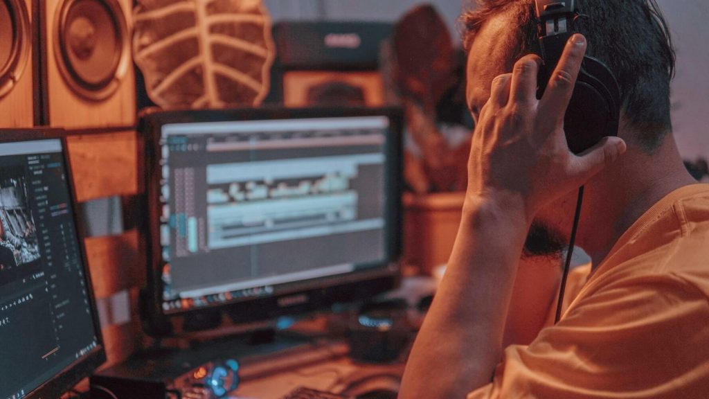 A person editing 360 video in post-production